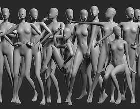 3D asset Animated Female Mesh - 14 poses v2