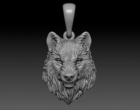 Angry wolf necklace wolf pendant 3D print model