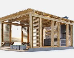 Wooden gazebo with oven 3D