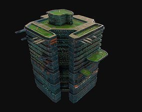 Low poly space port sci fi building 3D model low-poly