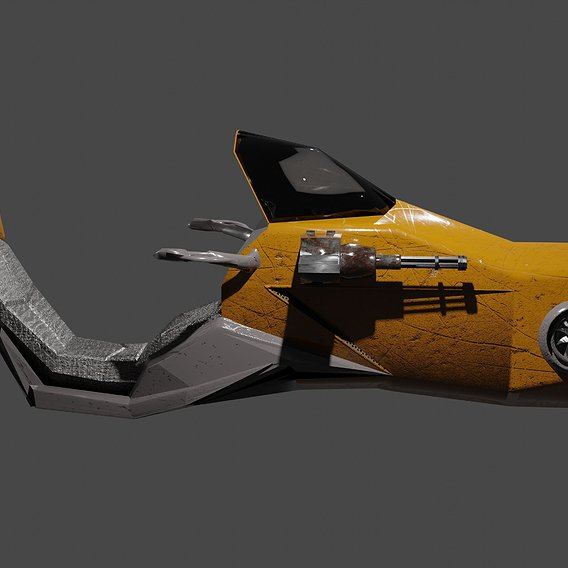 Hoverbike Sci-Fi Retro Style Low-Poly