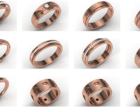 21 Women band ring 3dm stl render detail jewelry