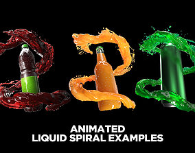 Animated water-liquid splash simulation 3D model