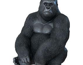 3D 3dsmax Deco Figurine Monkey Gorilla Side XL