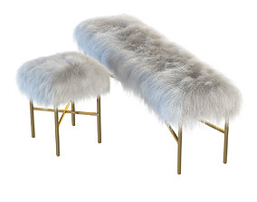 3D Mongolian Lamb chair and bench