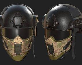 3D asset Helmet mask millitary combat soldier armor