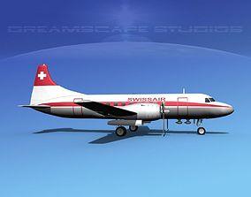 Convair CV-340 Swissair 3D