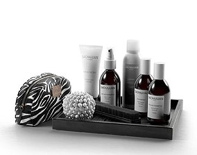3D model Hair Care Products Clutch Bag and Brush