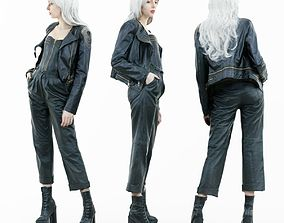 Girl with White Curly Hair in Leather Outfit 3D asset