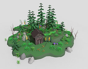 low poly fantasy toon forest scene 3D asset