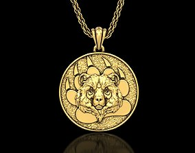 3D print model The Bear Head Medallion Pendant2