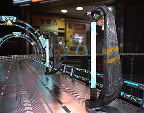3D asset low-poly Sci Fi - Cyberpunk Street Light