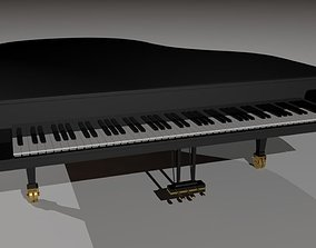 Grand Piano Black 3D asset