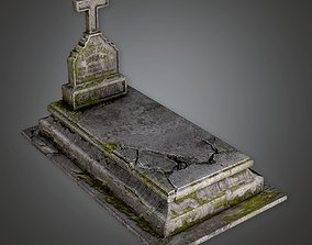 3D asset CEM - Stone Grave Cemetery 6 - PBR Game Ready