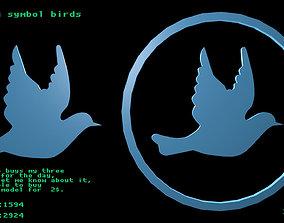 Low poly symbol birds 3D model
