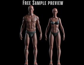 Realistic Human Basemesh - Male and Female - 3D asset 2