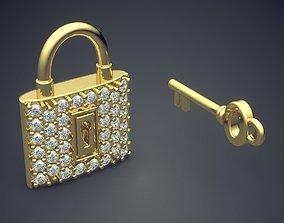 3D printable model Cute KEY AND LOCK Diamond