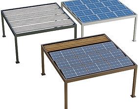 Metal pergola gazebo roller shutters and solar 3D model