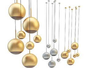 3D Mirror Ball Pendant Chrome and Gold Light Set