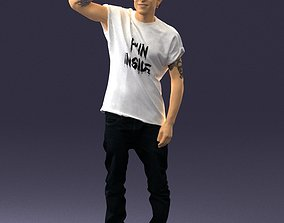Man in a white t-shirt and cap 0216 3D Print Ready