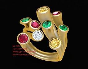 3D print model 2062 Colourful Diamond Ring