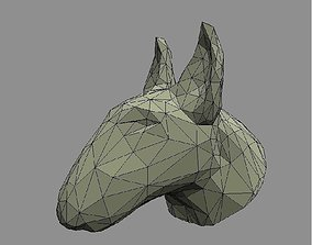 3D print model low poly bull terrier head