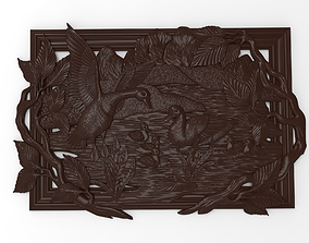 Geese on the pond bas relief for CNC 3D printable model