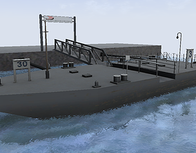 low-poly River cruise and ferry terminal floating berth 3d