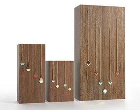 3D Wooden Block Jewelry Display