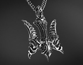 3D print model Falcon Biomechanical Trident Pendant