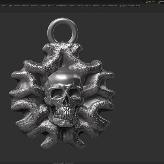 Skull Pendant 06 3d print model