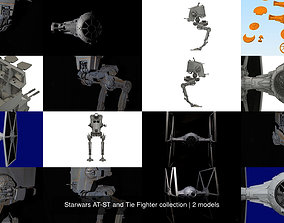 3D model Starwars AT-ST and Tie Fighter collection
