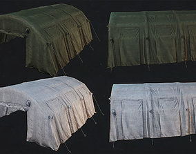 Low Poly -PBR Green and White tent with dirty 3D model