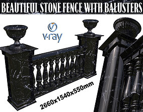 Dark marble fence balasins and columns 3D model