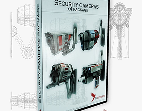 3D asset x4 security cameras package