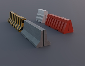 3D model Concrete and Plastic Jersey Traffic Barriers