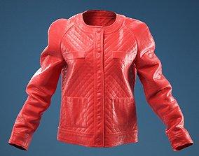 Black Padded Leather Jacket 3D model