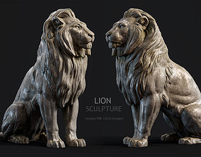 3D asset VR / AR ready Sitting Lion Sculpture PBR Low-poly