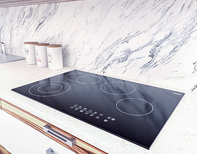 3D asset Black Electric Ceramic Hob - LOW POLY