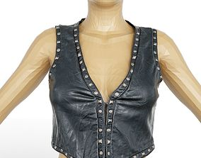 Top Tiny Black Leather Studs Clothing Women 3D asset