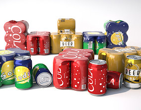 6 pack cans 3D model