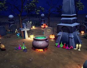 Cartoon Graveyard Props 3D model