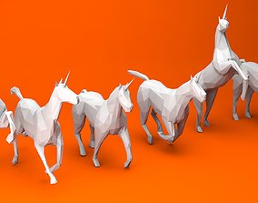 3D asset 6 Lowpoly Unicorns