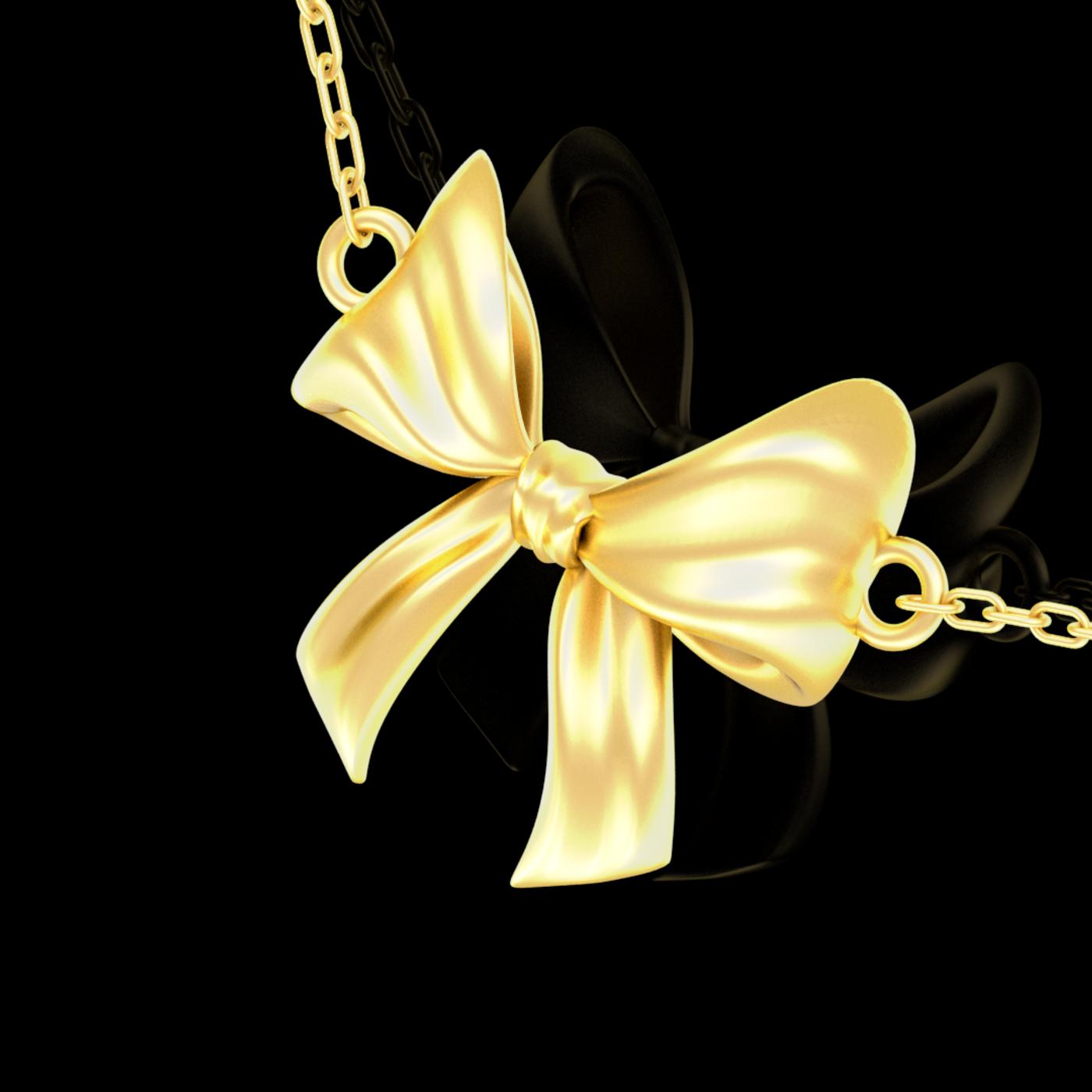 Bow Pendant jewelry Gold 3D print model