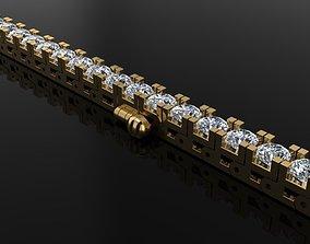 3D print model Box Style Diamond Tennis Bracelet 3mm