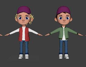 3D Model Cartoon Kid Character with 4 VR / AR ready 1