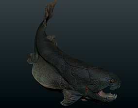 animated realtime Low poly 3d model Dunkleosteus