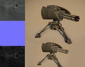 Minigun turret 3D asset