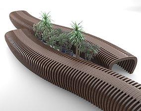 Elegant Outdoor Parametric wooden bench 3D model
