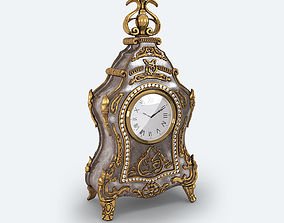 3D model Antique clock gold